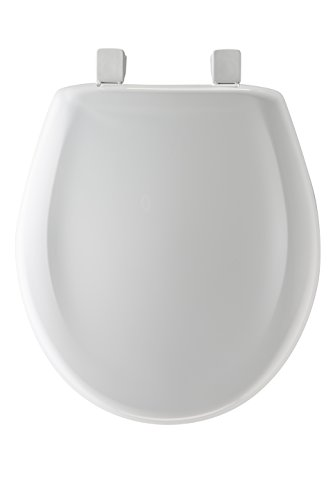 Mayfair Slow-Close Plastic Toilet Seat featuring Easy Clean & Change Hinges and STA-TITE Seat Fastening System, Round, White, 20SLOWE 000 (Toilet Seat Plastic)