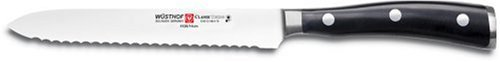 Wusthof Classic Ikon 5-Inch Serrated Utility Knife, Black -