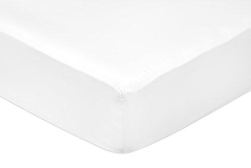 AmazonBasics - Sabana bajera ajustable (algodon saten 400 hilos, antiarrugas) Blanco - 160 x 200 x 30 cm