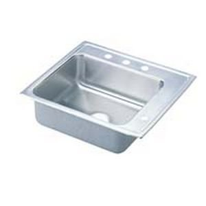 Elkao|#Elkay DRKADQ252260R3 18 Gauge Stainless Steel 25 Inch x 22 Inch x 6 Inch single Bowl Top Mount Sink 3 - Stainless Steel Elkay Classroom Sinks