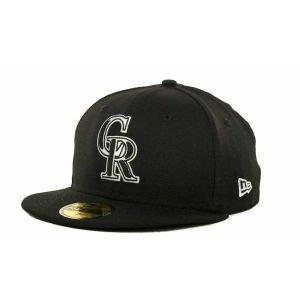 New Era Men's MLB HAT Colorado Rockies Black Fitted CAP (7 1/2)