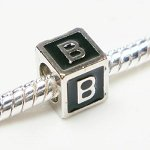 Buckets of Beads Enamel Letter Charm Bead, Monogram B, Black