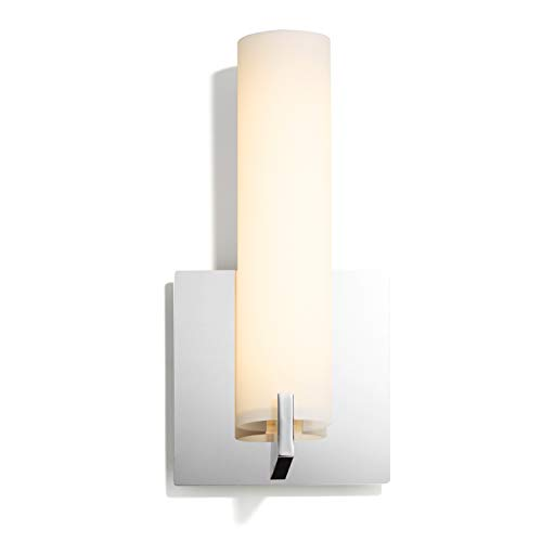 LED Bathroom Wall Light Vanity - Chrome Metal Sconce, Frosted Glass, Dimmable, -