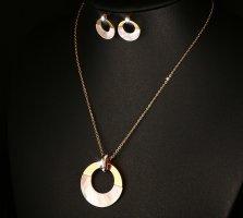 Vnox l'acier inoxydable 18k plaqué or shell parures pour les filles,collier + boucles d'oreilles