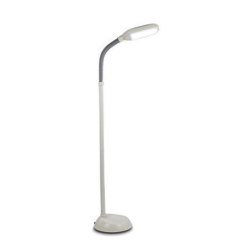 Brightech Litespan LED Reading and Craft Floor Lamp - Dimmable Full Spectrum Natural Daylight Sunlight LED Standing Light with Gooseneck for Living Room Sewing Bedroom Office Task – Alpine White by Brightech