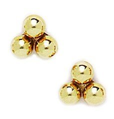 14k Yellow Gold Triple Ball Ball Earrings - Measures 7x8mm