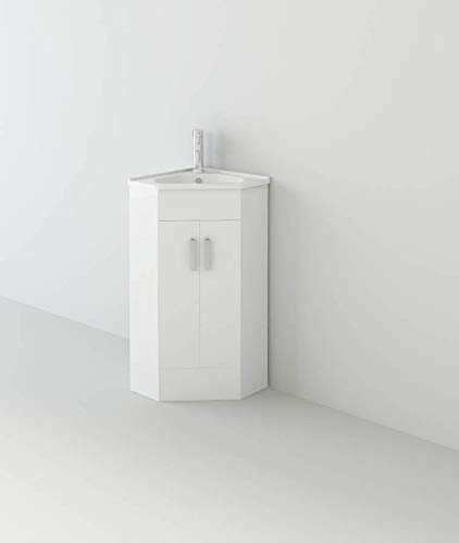 Linx Corner VeeBath Linx 500x470 Corner Basin Vanity Unit Cabinet with High Gloss White Finish, 2 Swing-Out Doors & 1 Inset Basin
