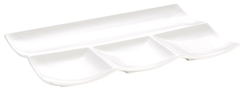 Cac China Accessories (CAC China F-12S Accessories New Bone White Porcelain Rectangular Platter with 4 Compartments, 12 by 8 by 1-Inch, 12-Pack)