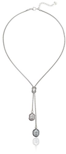 Majorica Sterling Silver 2/14mm Grey and Nuage Baroque Pearls on Love Knot Lariat Pendant Necklace, 17