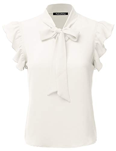 FASHIONOLIC Women's Casual Cap Sleeve Bow Tie Blouse Top Shirts (PSALM23) Ivory ()