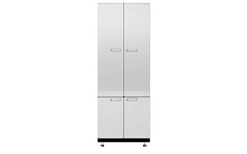 "Hercke Kit 8 Storage Tower Garage Cabinet System – 2 Piece Stainless Steel Modular Storage Cabinets with Maple Work Top (24""D x 30""W x 84""H) by SafeRacks (Powder Coat)"