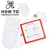 Everything For Baby- Swaddle Blanket Adjustable Infant Baby Wrap Set 2 Pack with 2 Matching Baby Beanies (Grey Stars & Polka Dots)