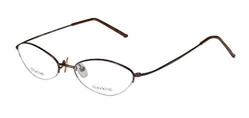Vera Wang V24 For Ladies/Young Women/Girls Cat Eye Half-rim Titanium Elegant Trendy Eyeglasses/Eyewear (49-16-136, Chocolate)