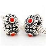 (Red Flower Stones Spacer Bead Fits Most Major Charm Bracelets )