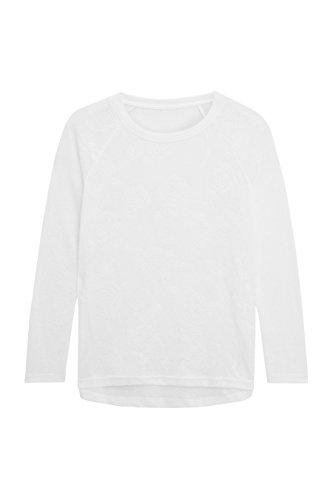 next Mujer Camiseta Manga Larga Malla Rosa Corte Regular Blanco