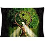 Tree Of Life Ying Yang Custom Zippered Bed Pillow Cases 20x3