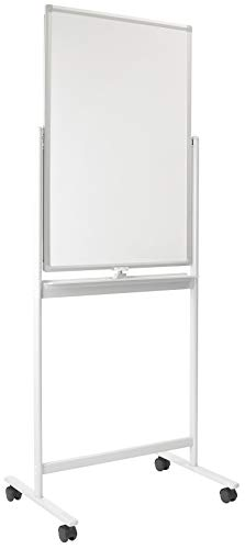 Mount-It! Mobile White Board Easel | Double Side Rolling Magnetic Dry Erase Board with Locking Caster Wheels, Wall Mountable (36