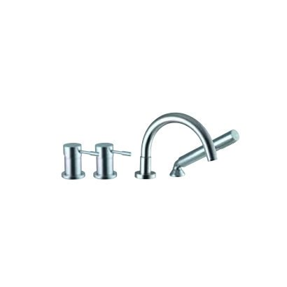Spillo Single Hole - Spillo Single Handle Deck Mount Tub Faucet with Hand Shower Finish: Brushed Nickel