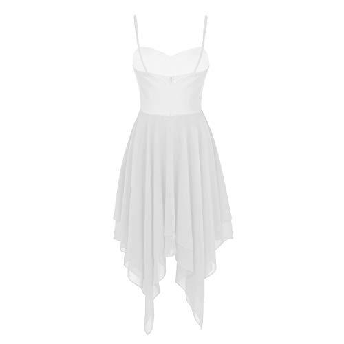 Maillot de Leotarto Blanco Baile Agoky Ballet Vestido Falda Gasa Gimnasia de Danza de Traje Ropa Mujer Clásico Elástico wB7q6vw
