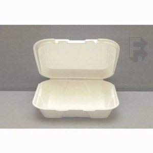 Genpak Small 1 Compartment Foam Container w/Hinged Lid - 8 Inch X 7-1/2 Inch X 2-3/4 Inch, White, 200 Food Containers