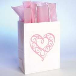 (Gift Bag - Heart w/Tissue - SML - Wht)