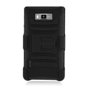 Gravydeals Black LG Venice/Splendor LG Optimus Showtime L86C/L86G 2 in 1 Armor Hybrid Belt Clip ,Double Layer Heavy Duty Hard Fusion Shockproof Protective Cover Case - Lg Venice Phone Case Black