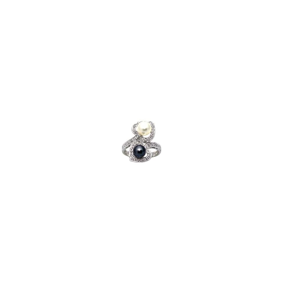 14K White Gold Diamond Ring With Black and White Cultured Pearls Size 6.5
