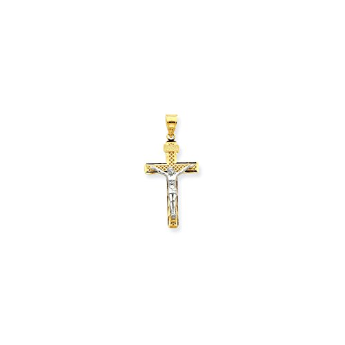 14k Gold Lattice - Roy Rose Jewelry 14K Two-tone Gold Diamond-cut Large Block Lattice Cross w/Crucifix Pendant