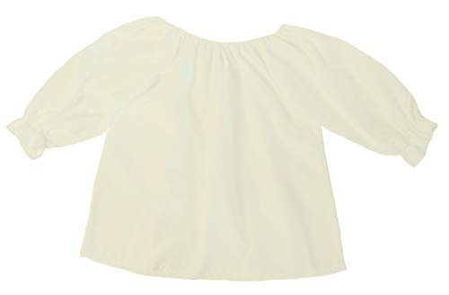 Girls 3/4 Long Sleeve Peasant Blouse (Girls, Small 6/7, Cream)