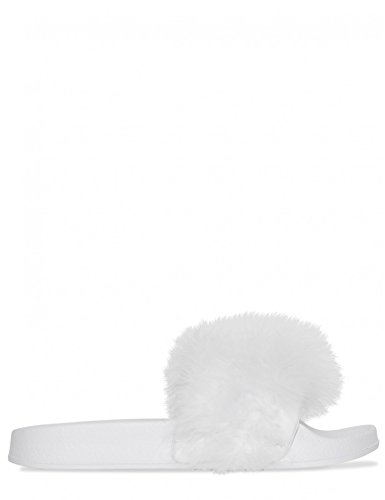 Womens Lamoda Bianco Pu Sliders Fluffy In 4nwH6dqO