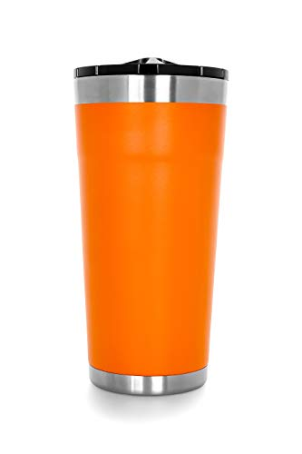 Camco 20 oz. Currituck Tumbler with Twist Top Double Wall Insulated, Kitchen Grade Stainless Steel, BPA Free Spill Proof Lid Design, for Camping and Outdoors-20 oz. Orange (53080)