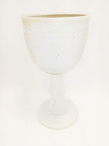 Aunt Chris' Pottery - Hand Made Clay - Ample Celtic Goblet (Chalice) - Glazed White - Beautiful to Display and Marvelous to Use - Food, Microwave, Oven And Dishwasher Safe