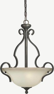 Forte Lighting 2446-03-32 Transitional 3-Light Pendant with Shaded Umber Glass, Antique Bronze Finish