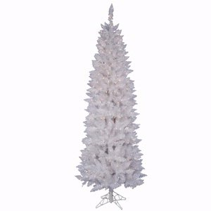 Vickerman Sparkle - Vickerman Sparkle White Pencil Tree with Dura-Lit 150 Clear Lights, 5-Feet by 25-Inch