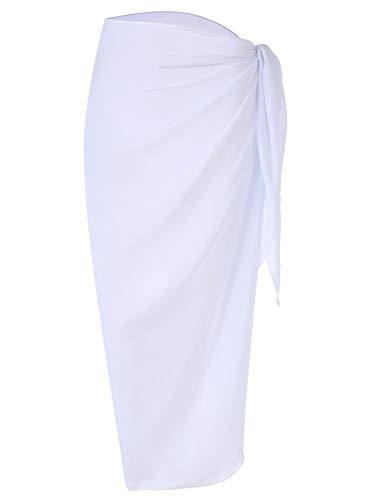 DOSWODE Women's Swimsuit Cover Up Summer Beach Wrap Skirt Swimwear Chiffon Pareo Sarong Bikini Coverups White