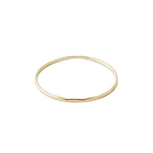 HONEYCAT Super Skinny Hammered Stacking Ring in Solid 14K Gold or 14k Rose Gold (Size 5-9) (Yellow Gold, 6.5)