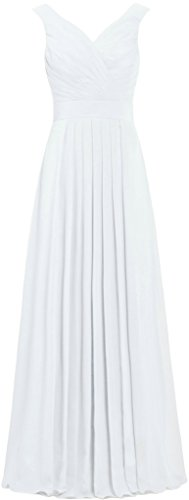 ANTS Formal Straight Straps Long Bridesmaid Dresses Chiffon Prom Gowns Size 18W US White