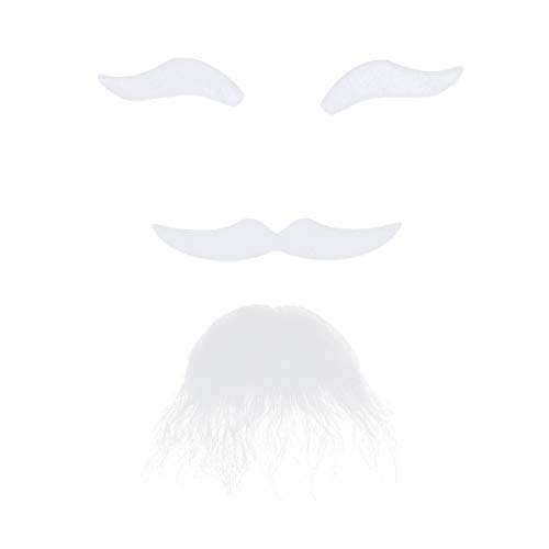 LUOEM 3PCS Self Adhesive Fake Eyebrows Beard Moustache Goatee Kit Facial Hair Cosplay Props Disguise Decoration for Christmas Masquerade Costume Party (White) -