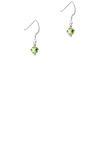 (August - Lime Green - 6mm Crystal Bicone - French Earrings)