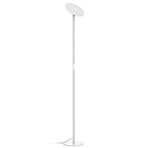 Floor Lamps Lamp Plus Wood (TROND LED Torchiere Floor Lamp Dimmable 30W, 5500K Natural Daylight (Not Warm Yellow), Max. 4200 lumens, 71-Inch, 30-Minute Timer, Compatible with Wall Switch, for Living Room Bedroom Office (Silver))