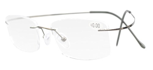 Eyekepper Titanium Rimless Reading Glasses Readers Men Women Gunmetal ()