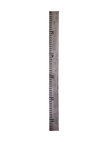 Growth Chart for Kids Made from Reclaimed Rustic Wood - Hand Painted - No Vinyl (Painted Grey) ()