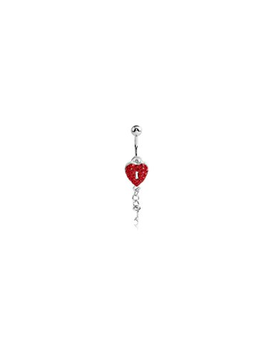 Bubble Body Jewelry Silver Color Crystaline Jeweled Heart Lock Navel Banana With Key Charm 1.6mm Gauge 14g - Jeweled Lock Heart
