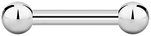 8g 16mm Surgical Steel Straight Barbell Body Piercing Jewelry, 6mm Balls ()