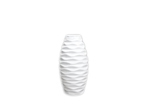 Urban Trends Ceramic Vase with Embossed Wave Design, Small, Matte White