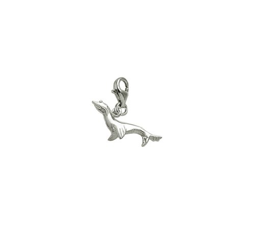 14k White Gold Seal Charm With Lobster Claw Clasp, Charms for Bracelets and Necklaces