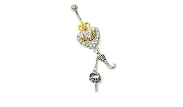 Amazon Com Cz Heart Crown Says Juicy Gold Silver J Dangle Belly