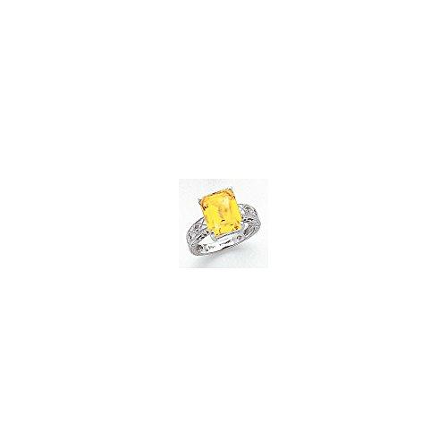 Mia Diamonds 14k White Gold 12x10mm Emerald Cut Citrine AA Diamond Ring