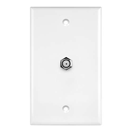 - ENERLITES Coaxial Television Cable Jack Wall Plate, F-Type F81 Coupler Connector, 1-Gang 4.50