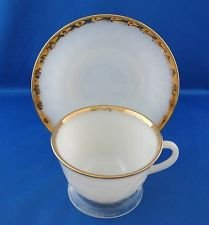 Vintage White Fire King - Fire King Swirl Vintage Cup and Saucer White 22K Golden Anniversary